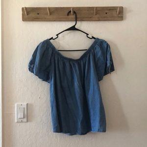Tops - Off shoulder denim blouse